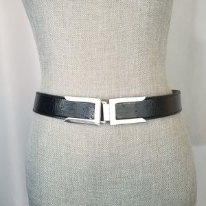 Back Faux Leather Belt with Silver Hardware